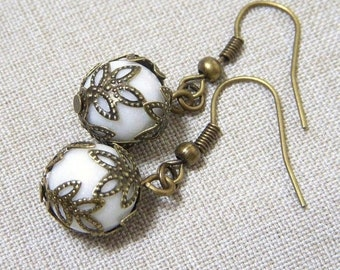 White Earrings, Filigree Earrings, Antiqued Brass Earrings, E294