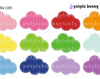 Rainbow Clouds // LARGE // Planner Stickers!