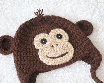 Crochet Monkey Hat, Brown with Tan Face, 2T- 4T