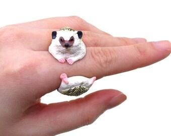 Handmade 3D Hedgehog Ring