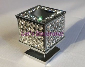 High Grade Silver Finished L21mm*W21mm*H30mm Sparkly Crystal Handles/Crystal  Drawer Knobs