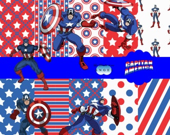 Digital paper kit party Captain America / Captain America Digital Papers Clipart
