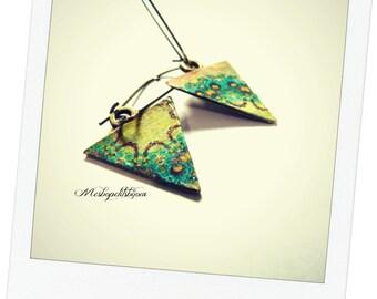 Earrings triangles original mandala yellow and green, sleepers