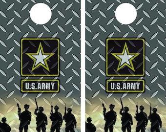 U.S Army vinyl wrapped cornhole set with bean bags
