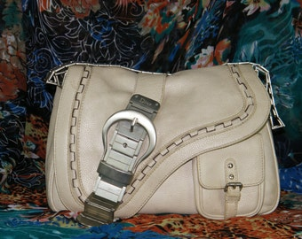 Authentic Christian Dior Vtg Ivory Leather Gaucho Bag Limited edition