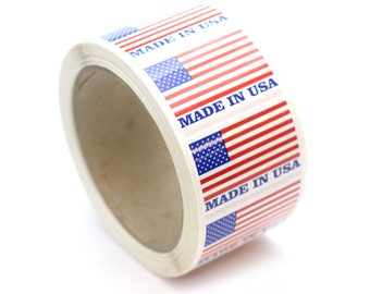 "500 Made In USA Stickers - 2"" x 1.25"""