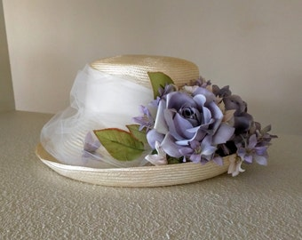 Vintage Straw Hat, Plaza Suite by Betmar, White Netting, Pale Purple & Pink Flowers, White Ribbon