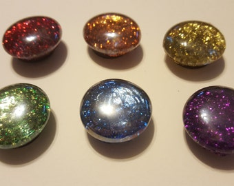Glass Rainbow Glitter Stone Magents, Set of 6