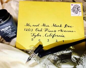 Customized Hand-written Modern Calligraphy Wedding Invites - Elizabeth Style