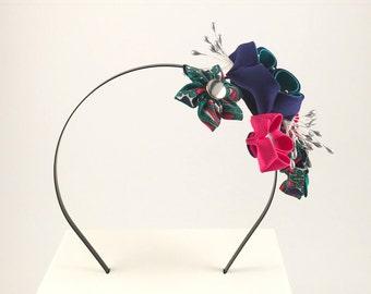 Kanzashi Flower Headband in Emerald and Pink