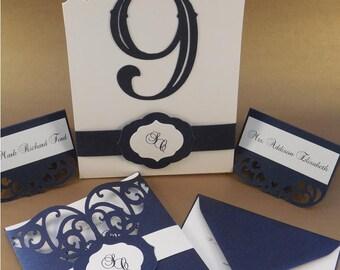 Modern Wedding Invitation Set,Handmade Wedding Invite,Elegant wedding Invitation,Custom Wedding Invitation,SKU#CS108MI