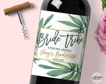 Tropical Bride Tribe Wine Label, Bachelorette Party, Custom Wine Label, Wedding Party Gift