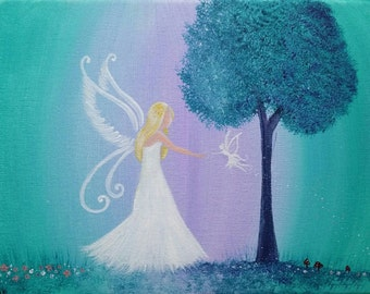 The Meeting Place - modern original fairy painting