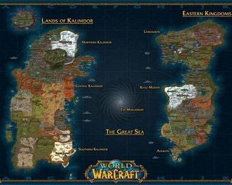 World of Warcraft map, Lands of Kalimdor, Eastern Kingdoms, Digital print