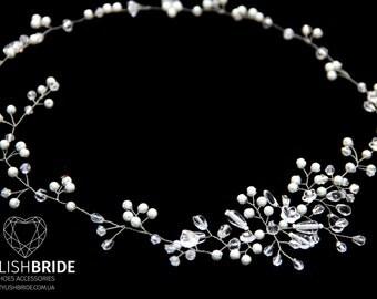 Bridal Pearl Crystal Hair Vine, Wedding Gloss Hair Vine, Pearl Hair Accessories, Pearl Vine, Bridal Hairpiece, Bridal Hair Vine