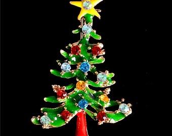 Enamel New Year Tree Christmas Pin Brooch Gift