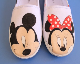 Mickey & Minnie Mouse Hand-Painted Canvas Shoes