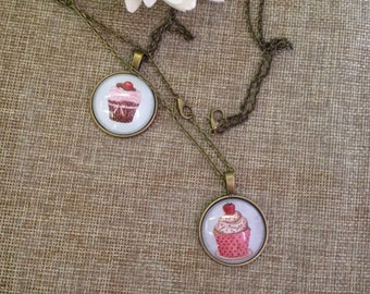 Vintage bronze color chain style necklace and cupcake cabochons