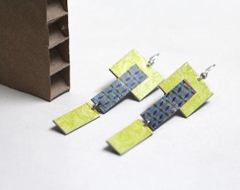 "Paper earrings ""Cavally"" - Geometric yellow and blue square"