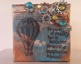 Mixed Media Canvas-hot air balloon