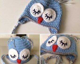 Crochet Preemie Baby Sleepy Owl Hat Beanie Blue Grey White