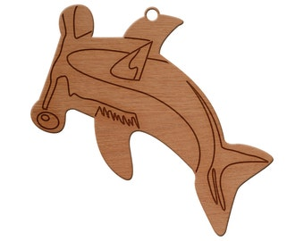 Hammer Head Shark Wooden Christmas Ornament, Finished Wood Cut Out, Heirloom Ornament, Personalized Ornament