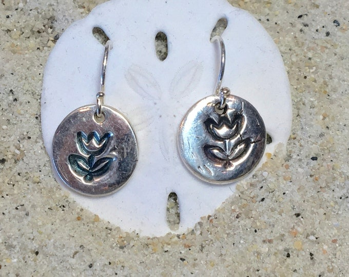 Fine and Sterling Silver Antiqued Tulip Disk Earrings