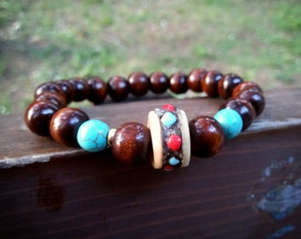 Mens Tibetan bracelet Yoga meditation bracelet yak bone tibetan bead bracelet wooden turquoise bracelet stretch bohemian bracelet for man