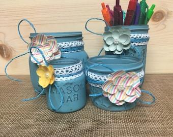 Dark teal 4pc Mason jar office organizer, mason jar desk organizer, rustic office decor, fun mason jar decor,