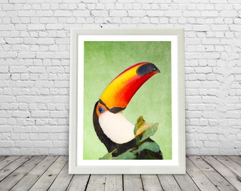Tropical Toucan Bird Print, Paradise, Rainforest birds, Brazil, Green, modern, toucan posters