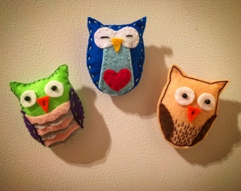 Cute owl felt magnets
