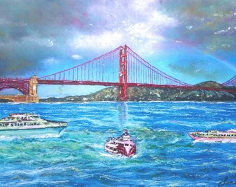 San Francisco Golden Gate Bridge PRINT of Golden Gate Bridge painting, landmark print, SF art, SF print, rainbow print, cityscapes, blue art