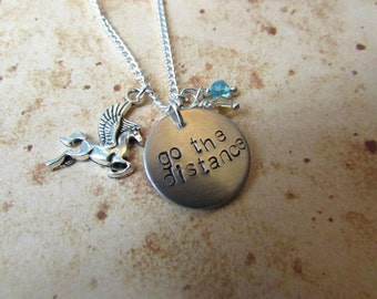 Go The Distance - Hand Stamped Pegasus Charm Necklace