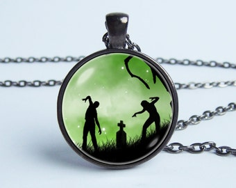 Zombie necklace Zombie pendant Horror necklace Dead people necklace Zombie art Post apocalyptic Zombie jewelry Walking dead Zombie humour