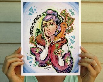 Colorful Lady and Fox Art Print // Gifts for Her // Mother's Day gift // Fine Art //  Wall Art