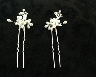 Bridal pearl, gem and Swarovski hair pins x2