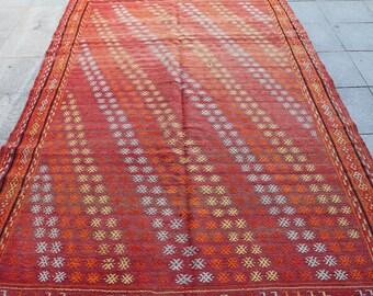 Vintage turkish kilim rug - 10 x 6 ft