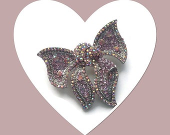 Pink Bow Crystals Brooch - Vintage Style Weddings Perfect Gift Idea - Cream Giftbox