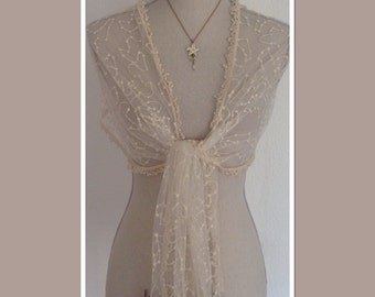 Cream Vintage Style Lace Wrap Shawl Scarf - Weddings Races Proms Downton Abbey Look Gift