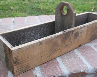 Reclaimed Wood Toolbox Centerpiece, Flower box, Rustic Centerpiece
