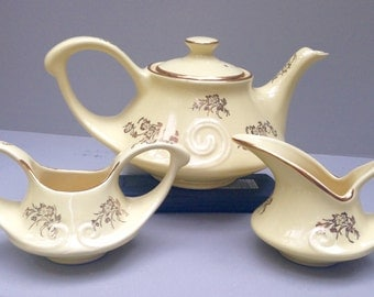 1950s Retro Art Deco Pearl China Teapot, Cream and Sugar Set
