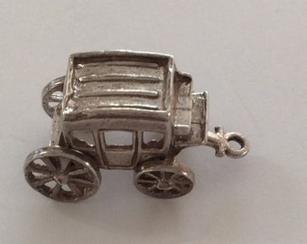 sterling articulated stage coach charm vintage # 918