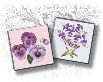 INSTANT DOWNLOAD - Pansy 1 x 1 Inch Square Images Digital Collage Sheet Ready to Print