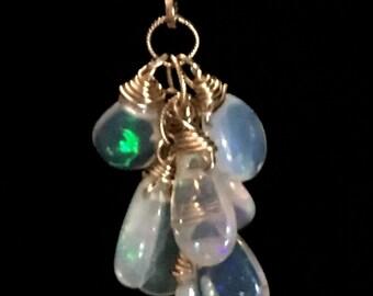 Opal Cluster Earrings-Etiopian Opal Gold-Fill