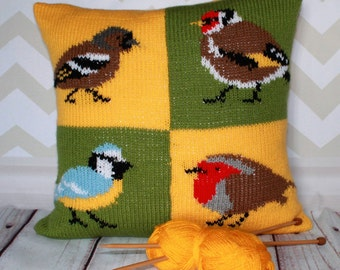 Knitting Pattern PDF Download - British Garden Birds Chaffinch, Goldfinch, Bluetit and Robin Pillow Cushion Cover