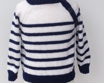 Navy and white hand knitted Breton sweater