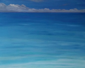 OCEAN BLUE Large Acrylic Painting Art Painting Original Art CALM Baby Room Painting Gifts for Art Home Decor Wall Hangings 48 x 48
