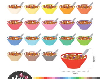 30 Colors Breakfast / Cereal Bowl Clipart - Instant Download