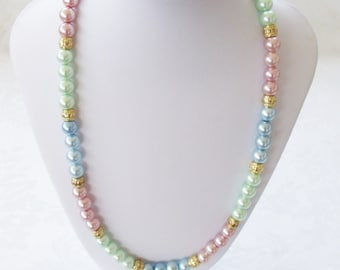 """Pastel Pearls 8mm-Single Strand-Gold Tone Spacers-Summer Jewelry-Birthday/Anniversary Gift-Female Gift-Wedding Jewelry Claw Clasp-20"""" Length"""