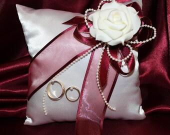Wedding Ring Pillow - White Satin